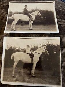 2 X Edwardian Photos Toddler & Man On White Horse