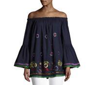 NAUDIC Black Alana Embroidered Top XS  Fits 8-12 NWT
