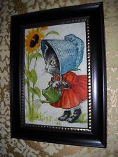 KITTEN IN BONNET & DRESS 4 X 6 black framed art print Victorian style picture