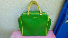 sac de voyage bag Avon simili cuir  vert et jaune  vintage 70's