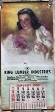 "1950 Zoe Mozert 'So Sweet'Advertising Pin Up 16""x33"" Calendar Baton Rouge, LA"