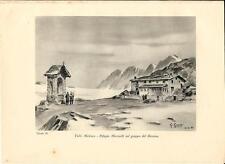 Stampa antica VALMALENCO MARINELLI ghiacciaio BERNINA Valtellina 1934 Old Print