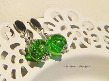 Edelstahl  Ohrringe GRÜN Perlen   ** handmade **