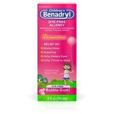 Children's Benadryl Dye-Free Allergy, Liquid Bubble Gum 4oz, Exp 01/19