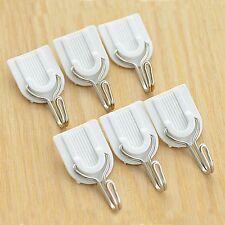 6Pcs White Wall Hooks Sundries Hanger Adhesive Sticky Hook Loading Capacity 2KG