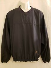 Footjoy F J Mens Long Sleeve Pullover Golf Jacket Size M Black V Neck