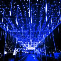 16Rohr 30cm LED Meteorschauer Eisregen Licht Weihnachten Lichterkette Blau 7V CE