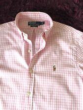 Smart 100% Genuino Ralph Lauren Calce Ajustado Camisa de cuadros blanco y rosa en medio