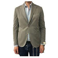 Men's Jacket Unlined L.B.M 1911 Taupe Spinata Double Split Slim 2875