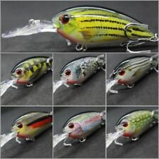 wLure Crankbait Fishing Lures Deep Diver Lifelike 2X Hooks Wide Wobble HC55