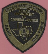 TEXAS DEPARTMENT OF CRIMINAL JUSTICE GANG TASK FORCE POLICE TACTICAL PATCH