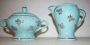 HALL CHINA FORMAN FAMILY BLUE SUGAR & CREAMER WITH GOLD FLOWERS AND TRIM MINT!