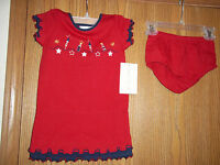 Girls Size 24M Sophia Rose 4th July Red White Blue Dress Bloomers Fireworks