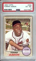 Tommie Aaron 1968 Topps Vintage Baseball Card Graded PSA 6 EX-MT Braves #394