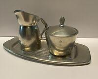 Vintage Pewter Creamer Pitcher Sugar w Lid Tray Set B M Norway 36751 36752 36753