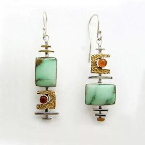 Chinese Style Dangle Drop Hook Earrings Green Resin Ethnic Vintage Jewellery