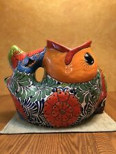 Rare Large Talavera Koi Fish Tropical Mexican Pottery Ceramic Folk Art Plant 19""