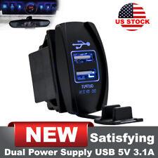 Dual USB Charger Voltmeter Rocker Switch SUV Car Boat Blue LED 12V 3.1A US