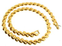 "Vintage Napier Engraved Rope Twist Links Gold Tone Necklace 16.5"""