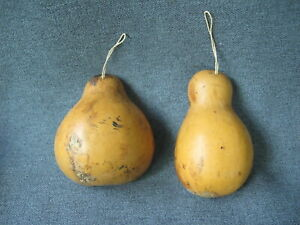 2 Vintage half gourds adornments with rope ring for hanging for painting crafts