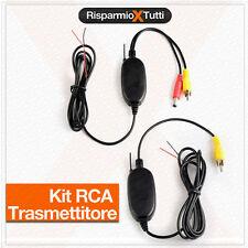 KIT RCA VIDEO WIRELESS PER TELECAMERA RETROMARCIA TRASMETTITORE RICEVITORE 2,4GH