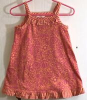 Hanna Andersson Baby Girl's Sz 80 Sundress Orange w/ Pink Flowers Front Ruffle