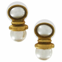 Vintage Gold Tone Double Faux Pearl Small Dangle Pierced Earrings 7mm