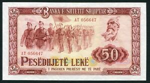 Albania 50 leke 1964 Soldiers on Parade & Skanderberg P38 UNC