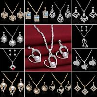 2018 18K Sapphire Crystal Pearl Necklace Earrings Set Engagement Wedding Jewelry