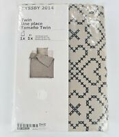 NEW Twin size Duvet Quilt Cover set Beige Black IKEA Bedroom Ryssby 100% Cotton