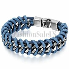 Stainless Steel Braided Men's Unique Leather Bracelet Bangle Cuff Metal Buckle