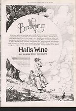 1919 ADVERT HALLS WINE THE SUPREME TONIC RESTORATIVE BRACING TWO WOMEN WALKING