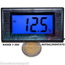 VOLTMETRO DIGITALE 7-30V LCD BLU pannello auto camper solare eolico alimentatore