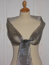 Pewter/mid grey shimmer organza wrap/stole for bridemaids/ evening wear/ prom
