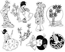 Unmounted Rubber Stamp Sheets,  Asian, Geisha, Crane, Bamboo, Japanese, Geishas