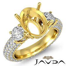 3 Stone Diamond Engagement Eternity Ring 18k Yellow Gold Oval Semi Mount 2.8Ct