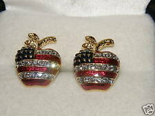 APPLE TEACHER EARRINGS AUSTRIAN CRYSTAL USA FLAG SCHOOL CHRISTMAS GIFT JULY 4TH