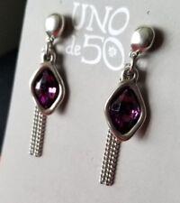 Uno De 50 Silver Earrings with Purple Swarovski Stone