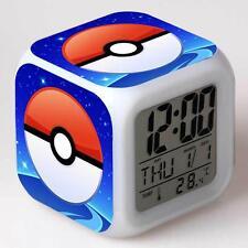 Hot Pokemon Anime Alarm Clocks 7 Color Change LED Digital Children Bedroom  TO