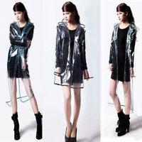 Korean Style Women Girl Transparent Raincoat Hooded Poncho Waterproof Jacket M/L