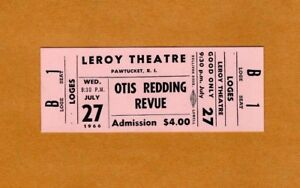 Original 1966 Otis Redding Unused Concert Ticket Pawtucket The Dock of the Bay