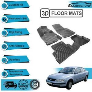 3D Molded Interior Car Floor Mat for Volkswagen Passat B5, (96-05)(Black)