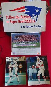 NE Patriots Lot: SBXXXI Adv. Sign,1992 Appreciation Day Poster,Drew Bledsoe Pics