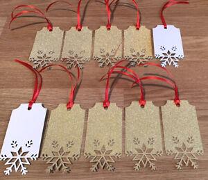 Christmas Gift Tags X 10 SNOWFLAKE Gold Glitter (no shed) *SECRET SANTA*