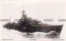 "Royal Navy Real Photo Postcard. HMS ""Teazer"" T-class destroyer. Abrahams. c 1943"