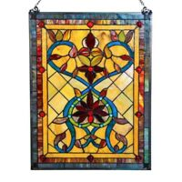 "Stained Glass Vintage Victorian Design Tiffany Style Window Panel  18"" W x 24"" T"