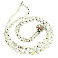 Vintage Glass Crystal Necklace Clear Faceted Graduated Bead Aurora Borealis