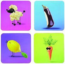 KitchenCraft  Vegetable  Coasters , Multi-Colour, 4-Piece