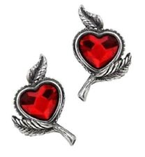 Alchemy Gothic Pair of Love's Blossom Heart Stud Earrings Goth Pewter Jewellery