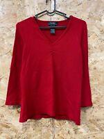 Lauren Ralph Lauren Ladies V Neck Cable Knit Jumper/Long Sleeve Top Red Small